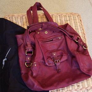Jerome Dreyfus large Billy maroon wine color bag